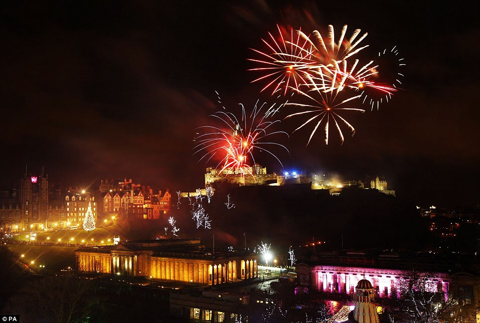Beautiful: Fireworks went off earlier this evening over Edinburgh Castle as part of the new year 2013 Edinburgh Hogmanay celebrations