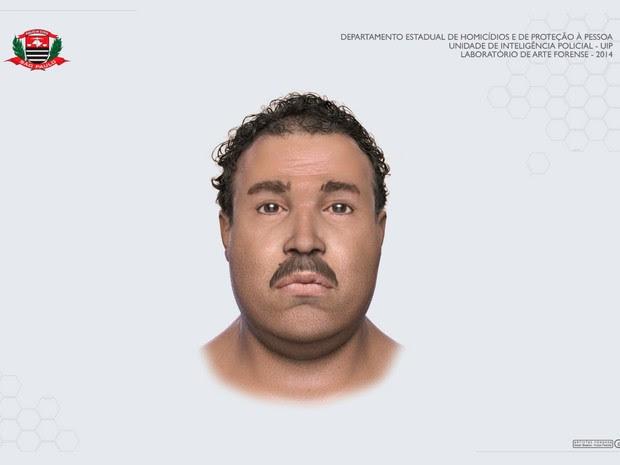 Imagem mostra 'reconstituição facial' de vítima de esquartejador (Foto: Divulgação / Polícia Civil)