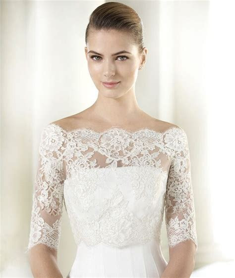 details   white  shoulder lace wedding bolero