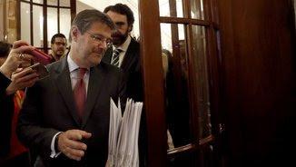 El ministre de Justícia, Rafael Catalá, avui, en els passadissos del Congrés (EFE)