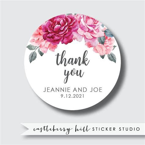 Floral wedding stickers, floral stickers, thank you