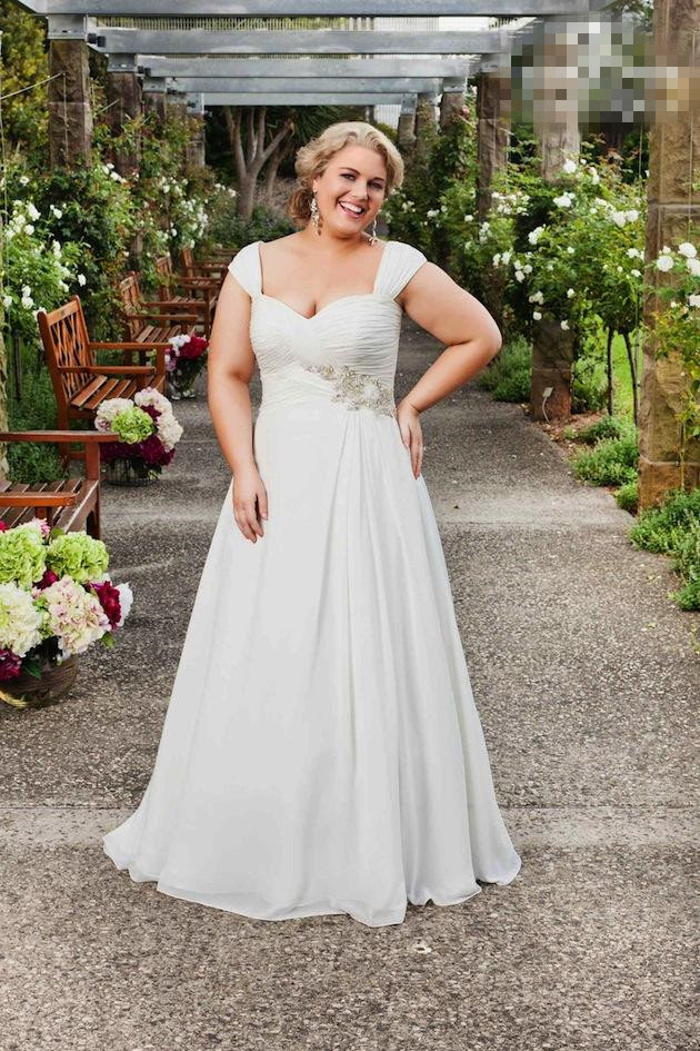 2015 spring cheap plus size garden wedding dresses cap