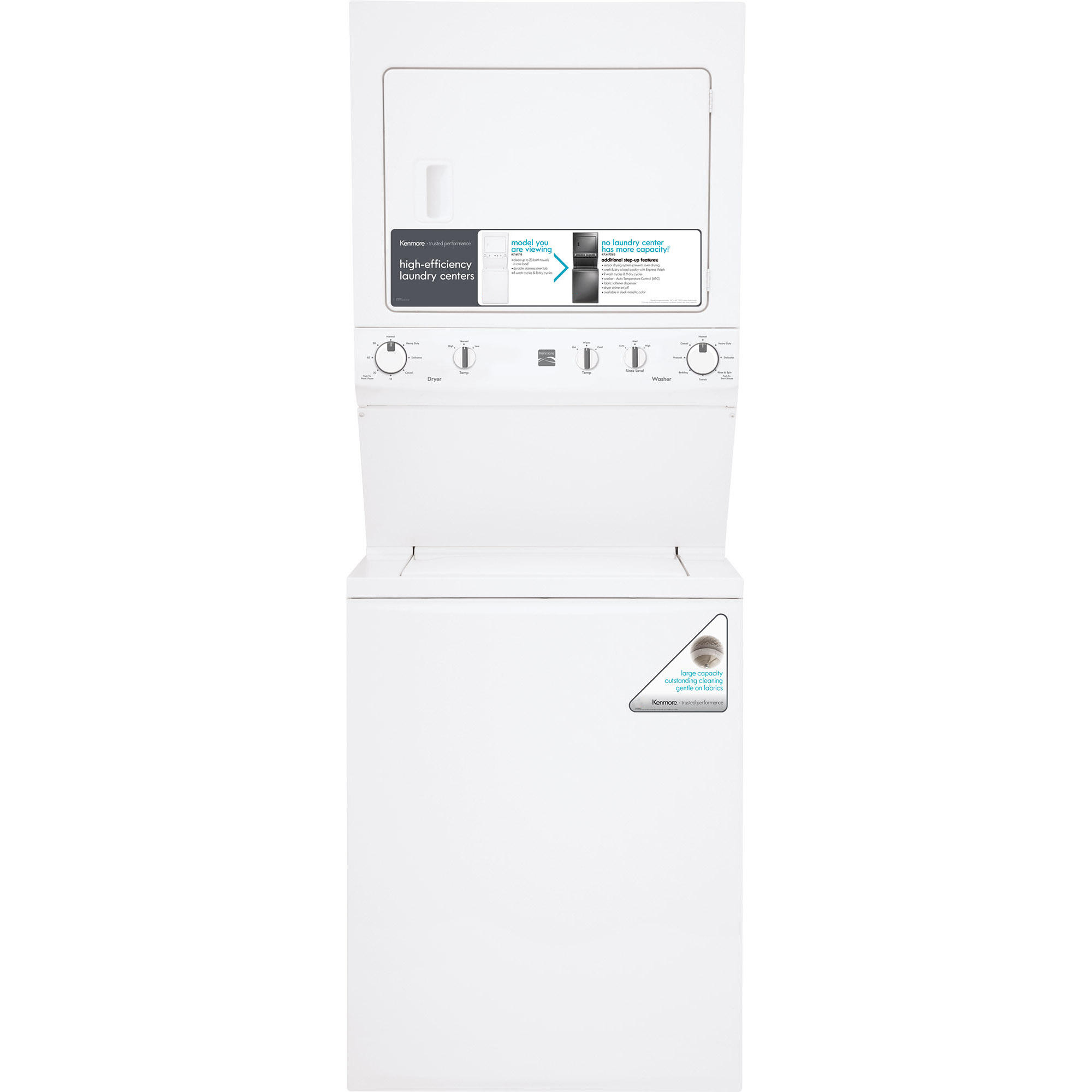 "Kenmore 27"" 3 8 cu ft High Efficiency Electric Laundry"