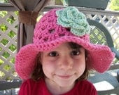 Summer Fling Sun Hat - Light Raspberry and Honeydew - Size 4-12 years with detachable flower clip