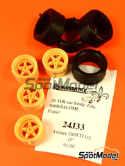 Mejora 1/24 Renaissance Models - Set de llantas Gotti J33 de 15 pulgadas con neumáticos para Porsche 911 SC   - resina - 4 unidades