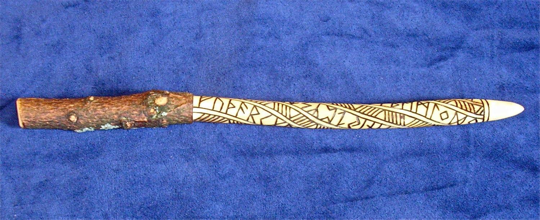 Pine Rune Gandr / Wand with Futhark Runes