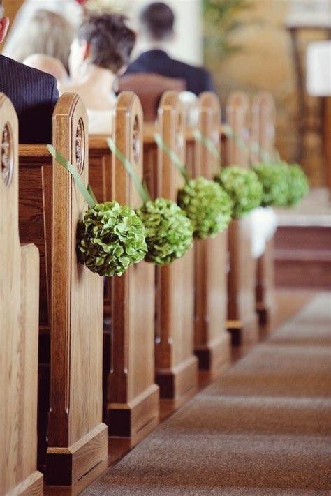 DIY Church Wedding Decor, green flower balls aisle decor