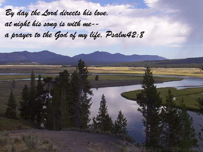 [Photo of a peaceful river with a Scripture verse superimposed]