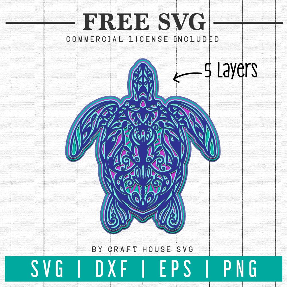 Download Free 3d Turtle Layered Mandala Svg Fb89 Craft House Svg