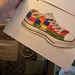 Aria's painting of a patchwork sneaker