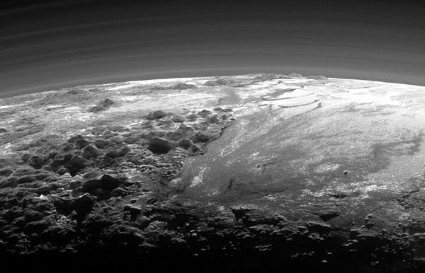A cropped version of the image of Pluto that was taken by NASA's New Horizons spacecraft from a distance of 11,000 miles (18,000 kilometers) on July 14, 2015.