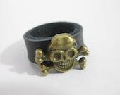 Black  Pirate flag leather ring - Richardwu