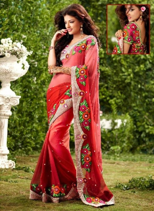 Beautiful-Girls-Women-Wear-Christmas-Exclusive-Saree-Dress-New-Fashion-Red-Suits-Design-3