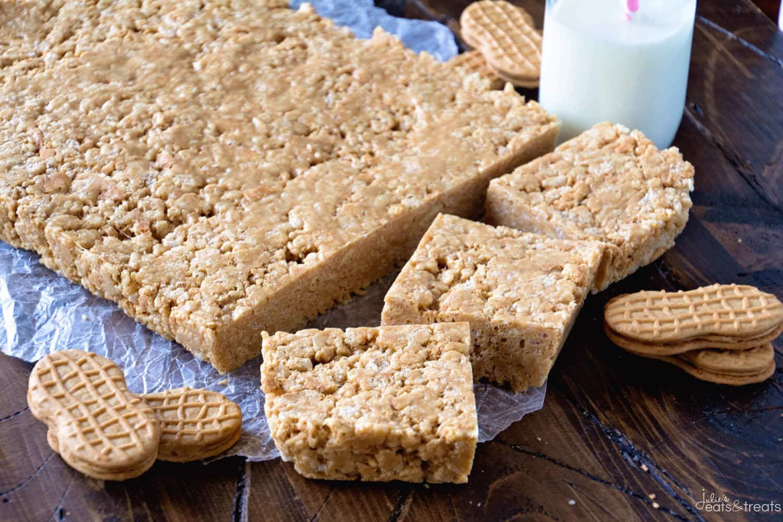 Nutter Butter Rice Krispie Bars Recipe - Julie's Eats & Treats