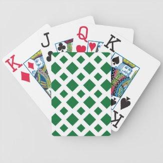 Green Diamonds on White Card Decks