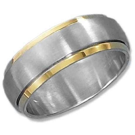 Gold Plated Brushed Spinner Ring: Just Men's Rings