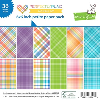 Lawn Fawn PERFECTLY PLAID RAINBOW Petite 6x6 Paper Pack LF1347