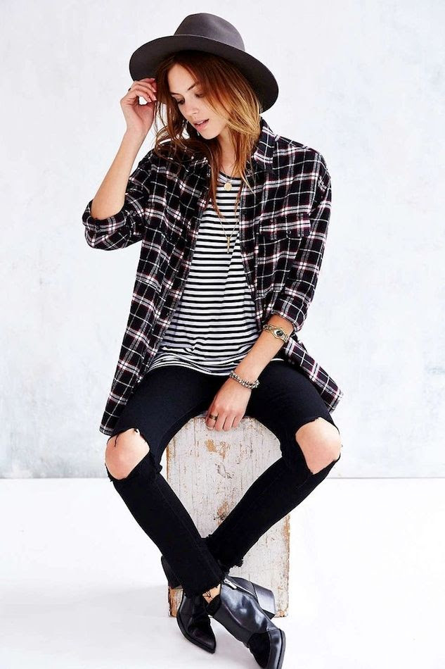 Le Fashion Blog Weekend Casual Style Inspiration Black Hat Striped Tee Plaid Button Down Shirt Ripped Knee Jeans Ankle Boots photo Le-Fashion-Blog-Weekend-Casual-Style-Inspiration-Black-Hat-Striped-Tee-Plaid-Button-Down-Shirt-Ripped-Knee-Jeans-Ankle-Boots.jpg