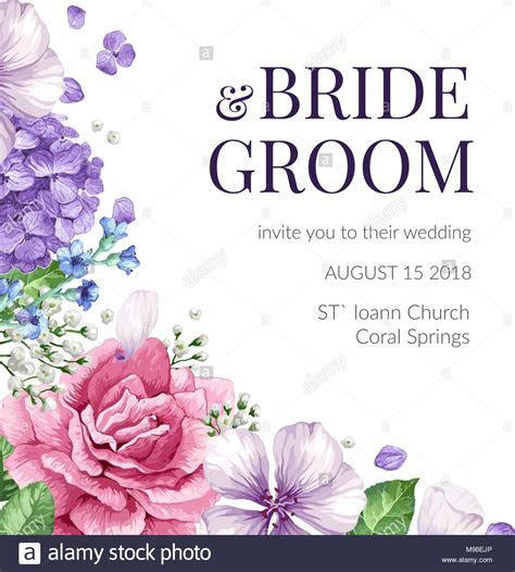 Wedding Invitation card with flowers in watercolor style