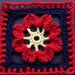 "6"" Framed Red Flower Square"