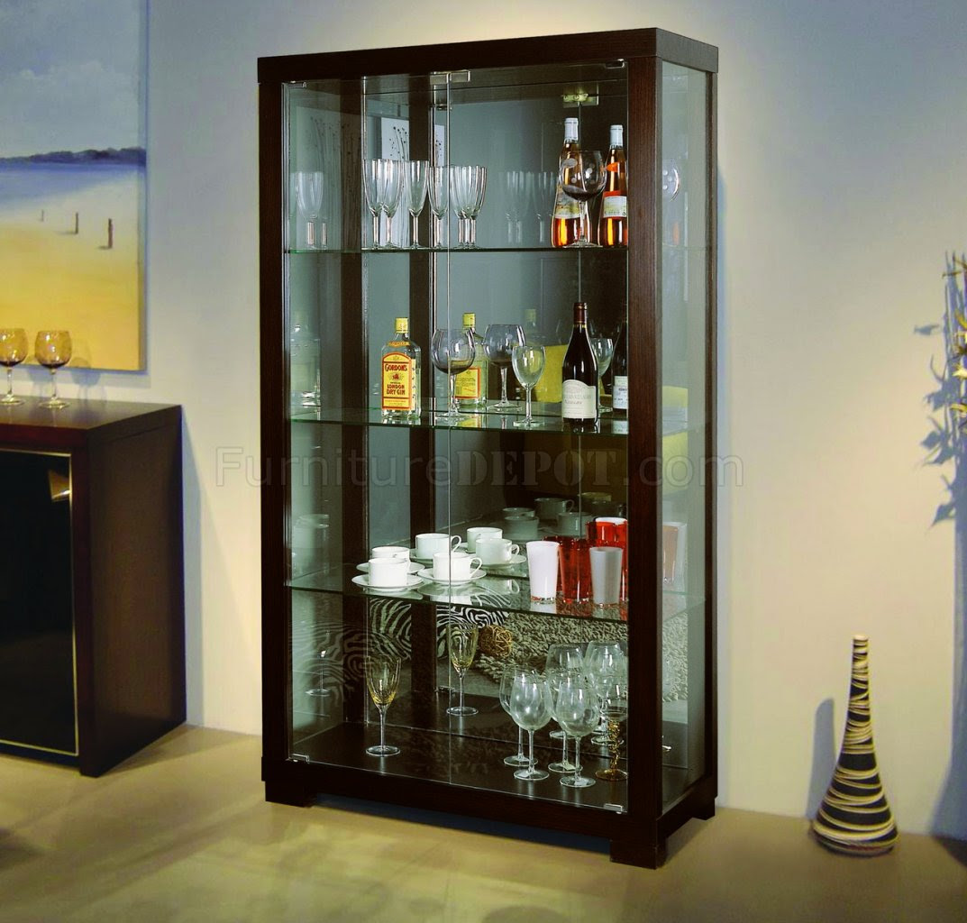 Wenge Finish Contemporary Glass Door China Cabinet