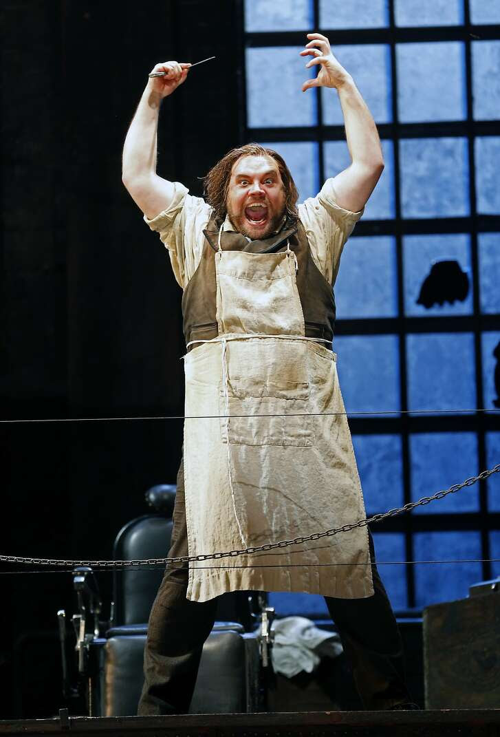 "Brian Mulligan (Sweeney Todd) during SF Opera's ""Sweeney Todd"" dress rehearsal at War Memorial Opera House in San Francisco, Calif., on Wednesday, September 9, 2015."