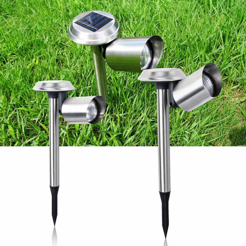 LED Stainless Steel Light Solar Garden Powered Landscape Light Lamp Spotlight  eBay
