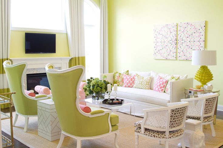 Suzy q, better decorating bible, blog, ideas, watermelon pink, lime green, yellow, walls, slip covers, trim, spring décor, design, homes, interiors, furniture, kitchen, living room, leopard chair, sof