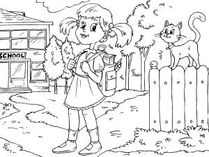 Colorear Niña Camino De La Escuela Dibujos De Colegio Para