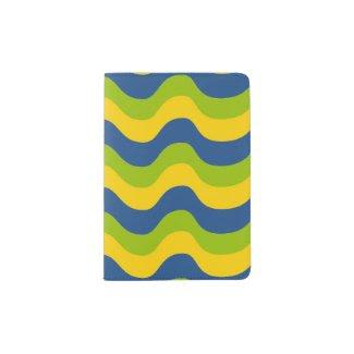 Passport Holder with Wavy Blue/Green/Yellow Design