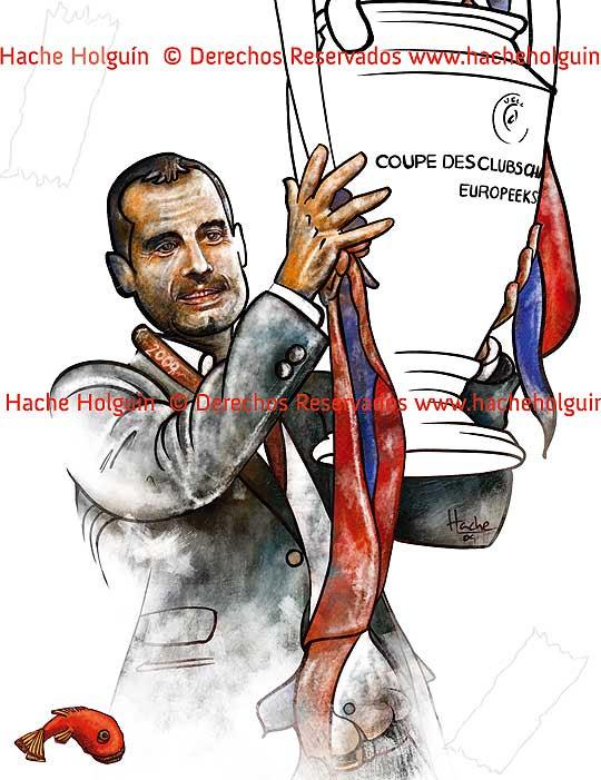 Retrato de Josep Guardiola por Hache Holguín