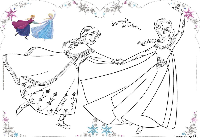 Coloriage La Magie De Lhiver Elsa Et Anna Jecoloriecom