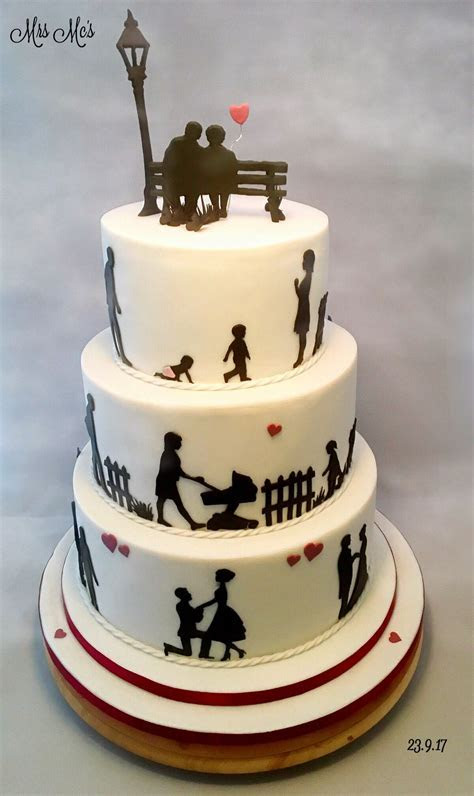 Life story 3 tier silhouette cake   Crazy Cake Creations
