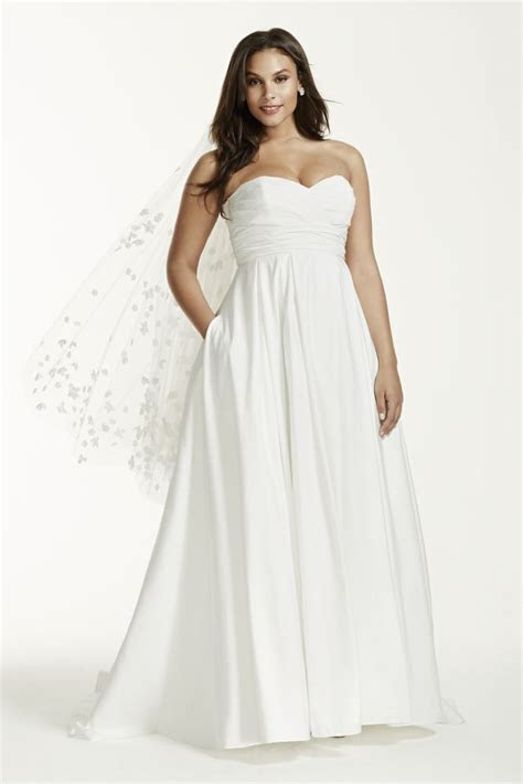 Extra Length Faille Ruched Empire Waist Plus Size Wedding