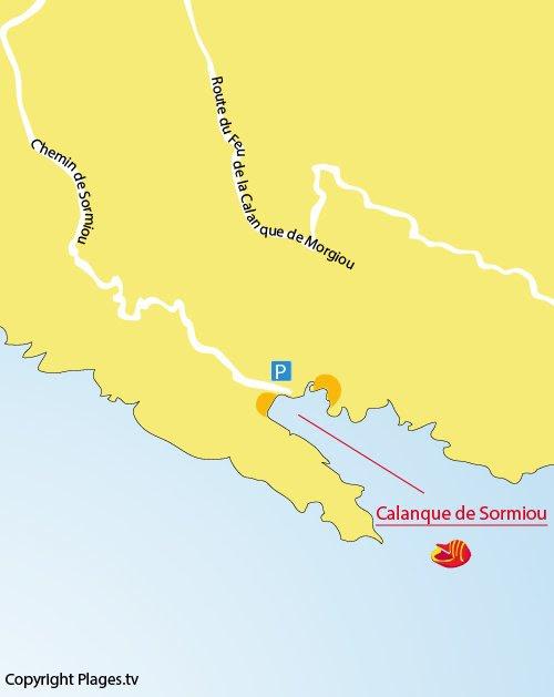 Carte de la calanque de Sormiou à Marseille