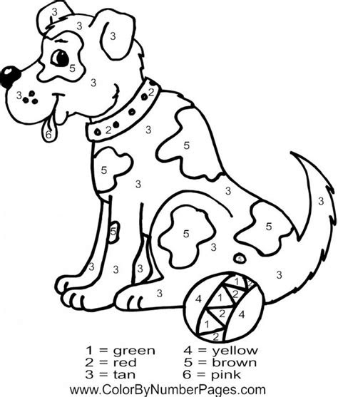 dog animal color  number  coloring page