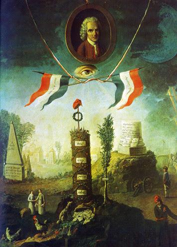 An Allegory of the Revolution with a portrait medallion of Jean-Jacques Rousseau (1712-78) 1794 by Nicolas Henri Jeaurat de Bertry
