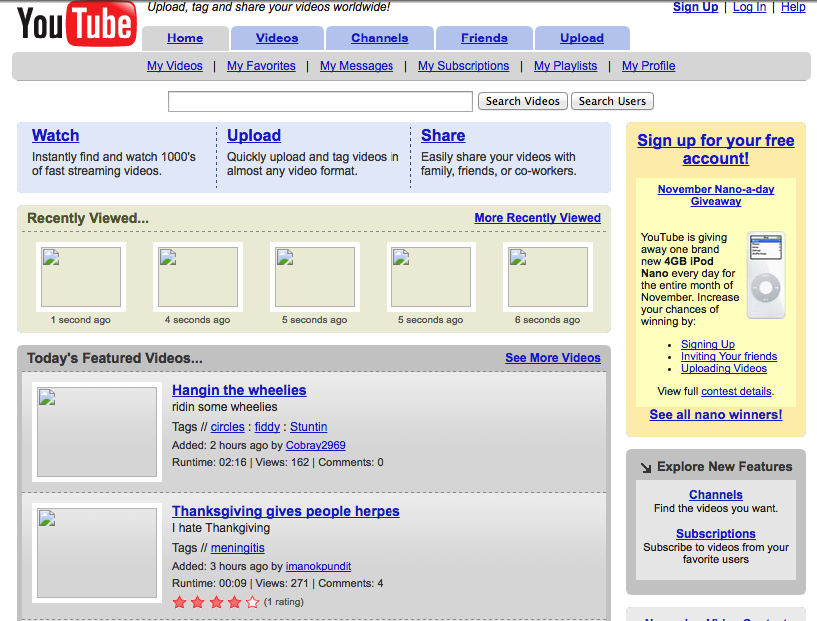 7. Same goes for YouTube, which was registered in early 2005.