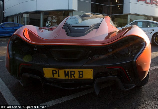 Personalised: The licence plate on Mr Bailey's McLaren's P1 shows off his name and the model of the car