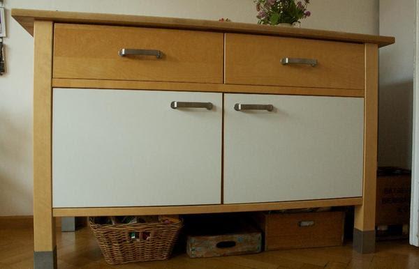 IKEA VÄRDE Küchenschrank Unterschrank Birke mit weißer ...