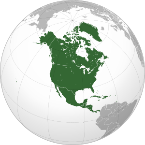 North America: orthographic projection, based ...