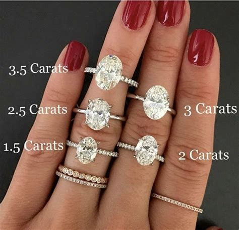 Oval carat comparison   Rings   Pinterest   Wedding