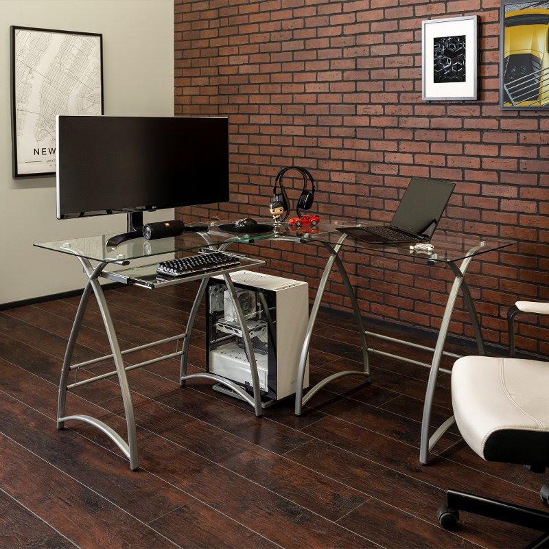 Modern Corner Glass Computer Desk Silver Rc Willey Furniture Store