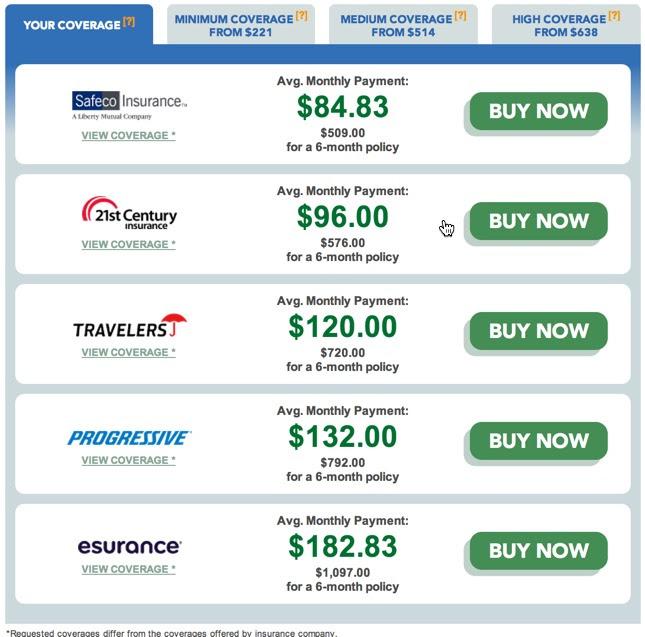 Image Gallery insurance quote comparison