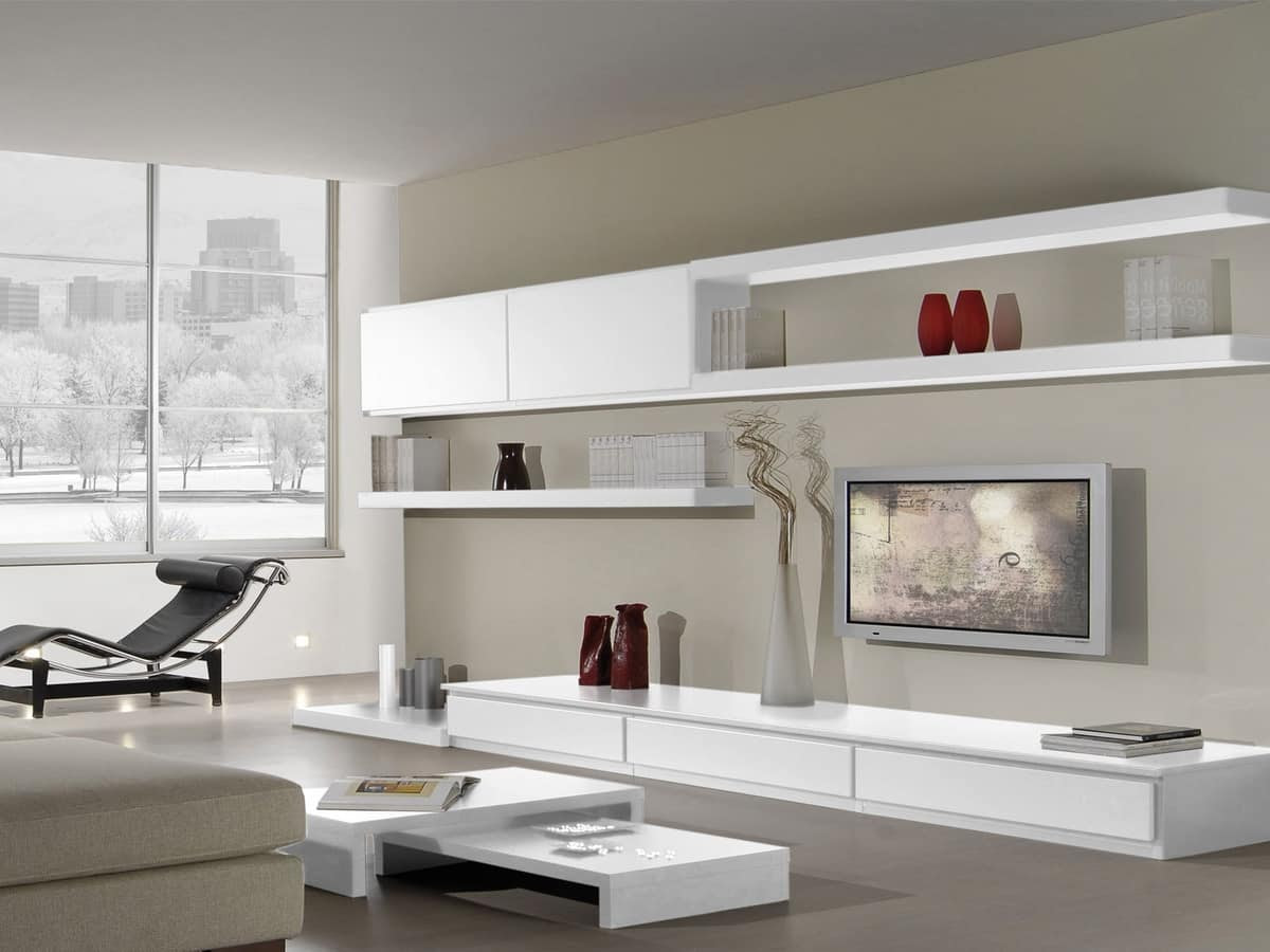 Modular systems for living room, with bookshelves and ...