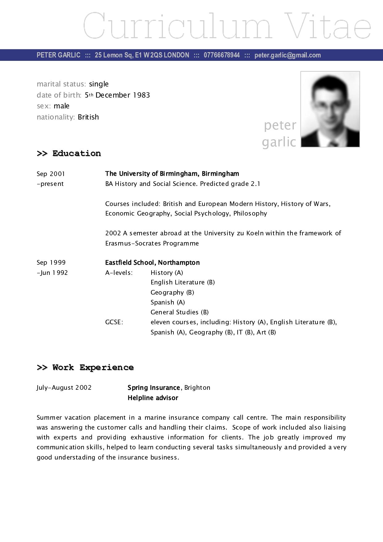 CV Example | Fotolip.com Rich image and wallpaper