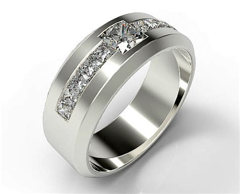 Men's Princess Cut Diamond Wedding band   Vidar Jewelry