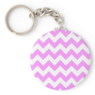 Pink and White Zigzag Keychain