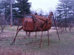 large grasshopper sculpture