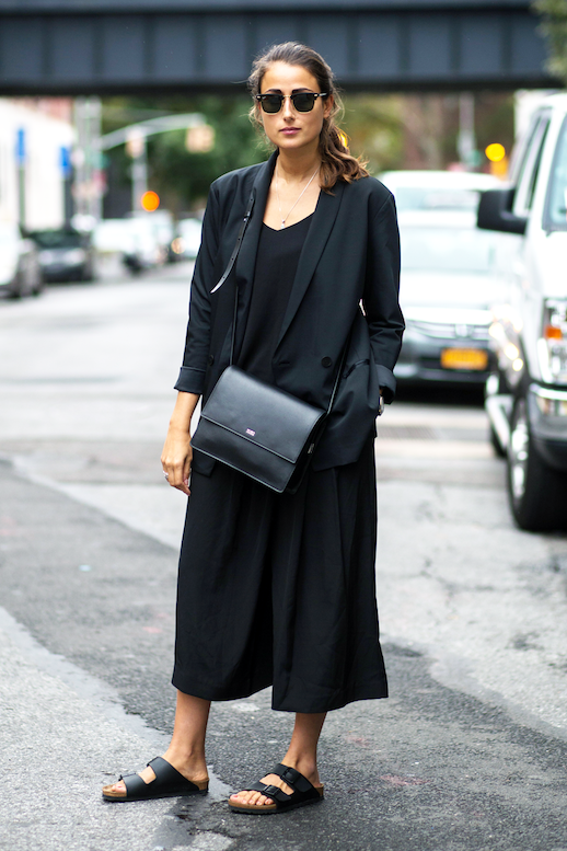 Le Fashion Blog All Black Street Style Minimal Look Sunglasses Blazer Culotte Jumpsuit Leather Crossbody Bag Birkenstock Sandals Via Refinery29